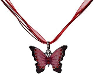 Cinlla Butterfly Red Crystals Pendant Necklace Chain Best Gift for Girlfriend Valentines Mothers Day