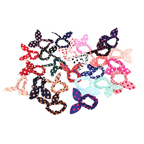 niumanery Women Girls Colorful Printing Rubber Band Cute Rabbit Ears Bowknot Polka Dot Leopard Floral Hair Rope Ponytail Holder Scrunchies Random Color B