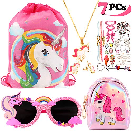 vamei Unicornios para Niñas Unicornios Mochila con cordón Goodie Bags Unicornios Collar Glasses Earring Purse Wallet Stickers Favores de Regalo de Fiesta Unicornios para Niñas