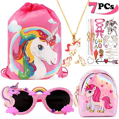 vamei 7 Paquete Unicornios Mochila con cordón Goodie Bags Unicorn Glasses Collar de Cadena de aleación Earring Purse Wallet Stickers Favores de Regalo de Fiesta Unicornios para niñas (A)