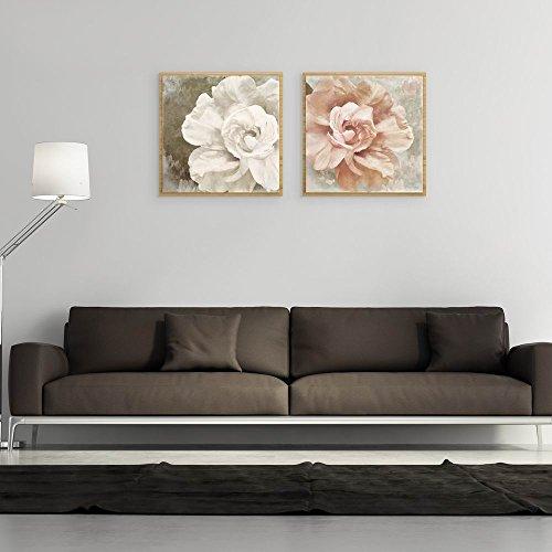 2 piezas de arte moderno de la pared de la peonía de la flor de la pintura de la pared de la lona impresa HD imagen o decoración de la pared de la oficina del hogar (40 x 40 cm)