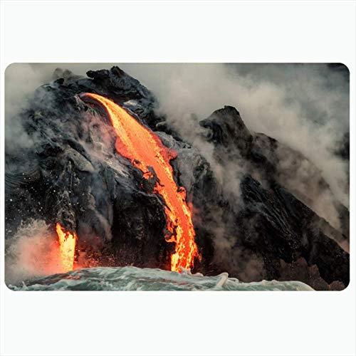 Alfombra de baño Volcán naranja Lava fundida que fluye hacia el océano Pacífico Naturaleza Magma Rojo Caldero hirviendo negro grande Alfombras de baño de felpa decorativas Alfombras Decoración Felpudo