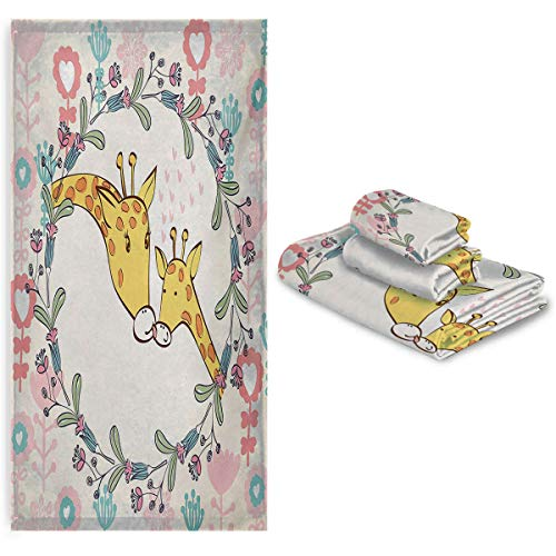 Bath Towel Set 3 Pieces - Cartoon Mom and Animal Figures Surrounded by Floral Ornaments Heart Shapes Flowers - Soft and Thick Towel-Machine Washable
