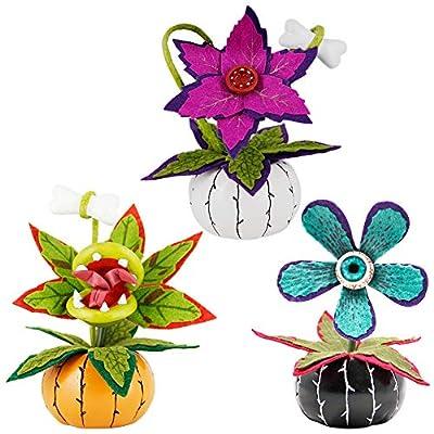 Twinkle Star Halloween Decorations Artificial Flowers with Resin Mini Pumpkin, Piranha Plant, Eye Ball Flowers, Rafflesia, Horror Man Eating Plant Halloween Prop Tabletop Decor, Set of 3
