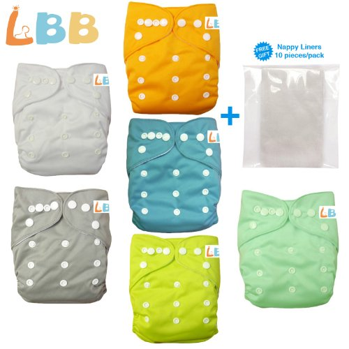 Baby Double Rows of Snaps 6pcs Pack Fitted Pocket Washable...
