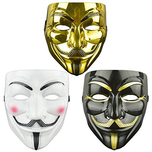 DWTECH Guw Fawkes Maske für Vendetta-Maske für Erwachsene/Kinder, 3 Stück