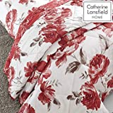 Catherine Lansfield Painted Floral Tagesdecke, Polyester, rot, 220x230cm