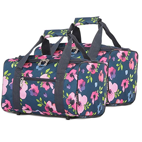5 Cities Maximum 35x20x20 Ryanair Cabin Hand Luggage Holdall Flight Bag, Set of 2 (Navy Floral)