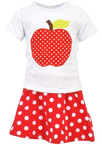 Unique Baby Girls Back to School Apple Skirt Boutique Outfit (5T/L, Red)