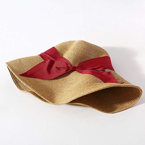 B/H Sombrero de Paja de Las Mujeres Suave Transpirable Decoración Vacaciones,Piscina de Playa Protector Solar Plegable Sombrero de Paja Rojo,Sombrero de Verano de Paja con sombrilla