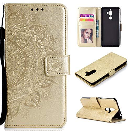 Snow Color [Nokia 7 Plus Hülle, Premium Leder Tasche Flip Wallet Hülle [Standfunktion] [Kartenfächern] PU-Leder Schutzhülle Brieftasche Handyhülle für Nokia 7Plus - COHH051269 Gold