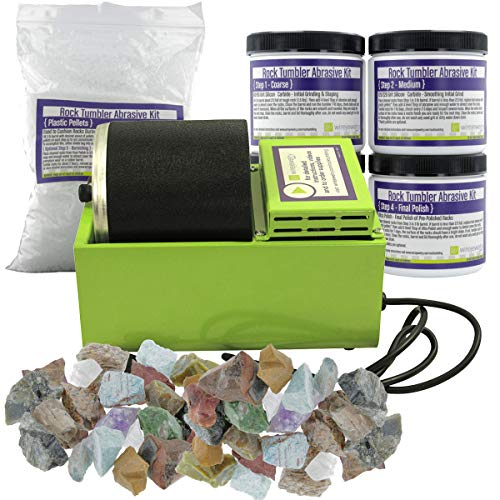 WireJewelry Single Barrel Rotary Rock Tumbler Deluxe Kit, Includes 3 Pounds of Rough Madagascar Stone Mix and 5 Batches...
