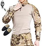 H mundo UE Taktisches caza militar Langarm Shirt con Pads Ellenbogen, color Highlander, tamaño medium