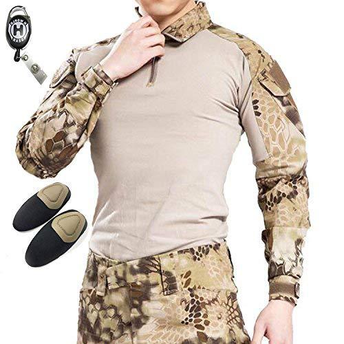 H Welt EU Camicia militare a maniche lunghe da uomo, con gomiti imbottiti, Highlander, M