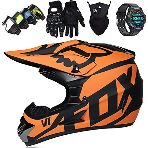 Casco de Motocross Niños, Set Casco Integral MTB (Gafas/Máscara/Guantes/Reloj Inteligente), Casco de Moto Todoterreno Adultos para Downhill Quad Enduro Racing...