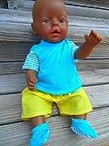 Puppenkleidung handmade Sommerset passend für Baby Puppen Puppe Gr. 43 cm türkis & gelb Kleidung...