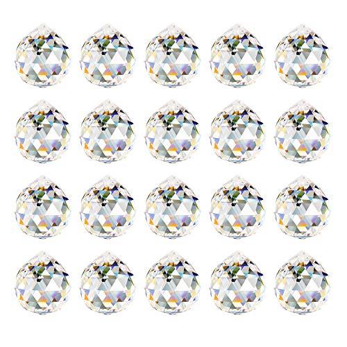 Aipaide Transparente Bola de Cristal 20pcs Bola de Cristal Feng Shui Colgante Bola de Cristal Prisma para Decoración de Lámpara de Casa, Boda, Navidad 20mm