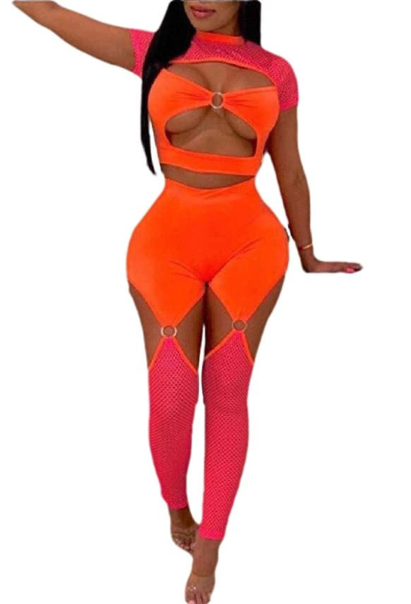 戸棚多様体病弱Women's Two Piece Outfits Cutout Mesh See Through Crop Top and Pants Set Suit Beach Clubwear