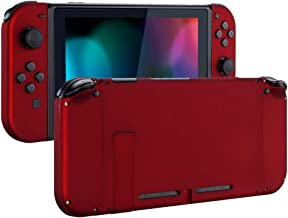 eXtremeRate Soft Touch Grip Back Plate for Nintendo Switch Console, NS Joycon Handheld Controller Housingwith Full Set Buttons, DIY Replacement Shell for Nintendo Switch - Red
