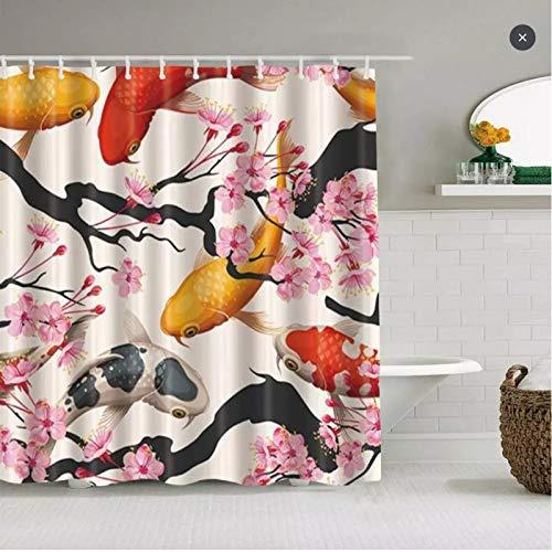 Cortina de ducha japonesa con diseño de flores de cerezo Koi Fish en rosa Sakura impermeable cortinas ganchos incluidos, decoración de baño