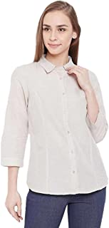Madame Stripes Collar Neck Polyester Womens Casual Shirt(S21MADM1S18023P-P)