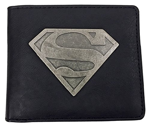 DC Comics - Herren Schwarze Geldbörse Geldbeutel Brieftasche mit Metall Superman Abzeichen