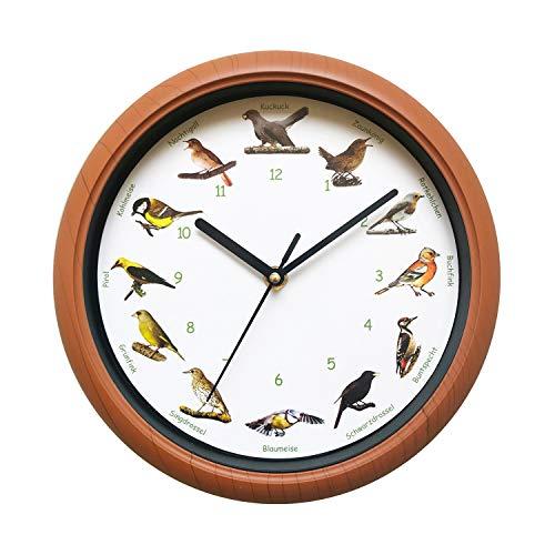 SELVA Vogelstimmenuhr, Wanduhr, modern, bunt, Holzoptik, inkl. Gesang von 12 Singvögeln, farbenfrohe Illustrationen – Batterien erforderlich (Nicht enthalten)