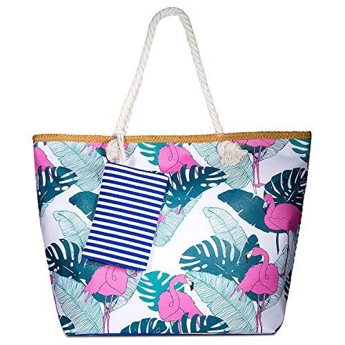 Vordas Welecoco Bolsa Playa Grande Mujer, Bolsa Playa Grande con Cremallera XXL, (Tamaño Perfecto 55 x 39 x 16.5 cm), Ideal para la Playa o Piscina (Bolsa de Playa 4)