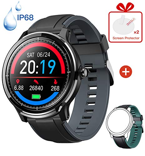 Kospet Smart Watch, Fitness Tracker with Heart Rate Blood Pressure Monitor, IP68 Waterproof Activity Trackers with 1.3' Full Touchscreen, Sport Smartwatch Compatible with Android IOS for Men Women Kid
