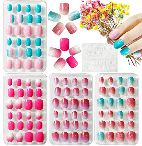 Kalolary 4 Boxen Kinder Fingernägel, Gradient Farbe Kinder Kunstnägel Press on Nails Short Full Cover False Nail Set mit 1 Stück Nail Glue Sticker Künstliche Nail Tips Geschenk für Mädchen - B