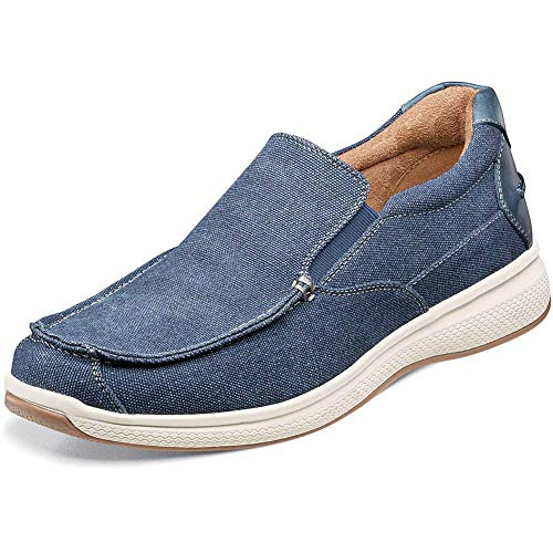 Florsheim Great Lakes Canvas Moc Toe Slip-On Navy Canvas W/Navy Smooth 10.5 M (D)