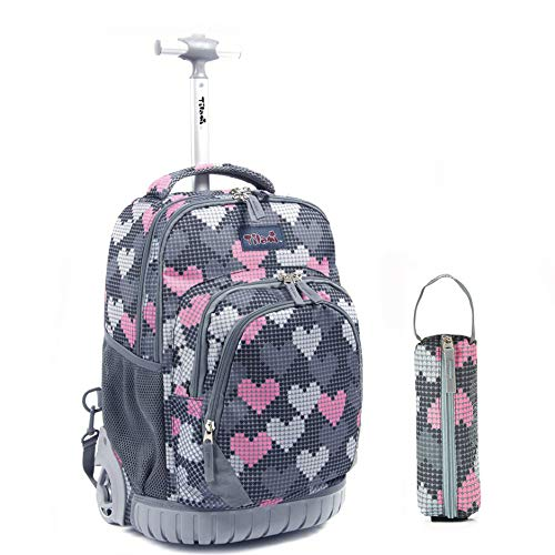 Tilami Rolling Backpack 18 Inch with Pencil Case School for Boys Girls, Grey Hearts