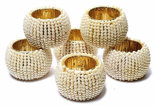 Handgemachte Beige Perle Perlen Serviettenringe Halter Esstisch Dekoration für Hochzeit, Heim, Veranstaltungen, Party, DIY Handwerk Supply
