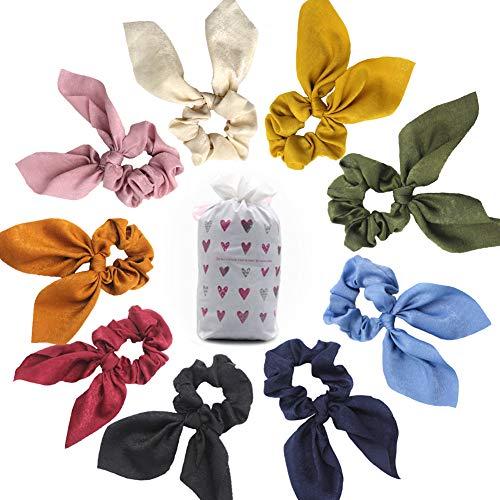 Haargummis, Samt, elastisch, weich, Haarbänder, Chiffon-Schleife, Vintage-Blumenschal, bunt, Pferdeschwanz-Halter für Mädchen und Damen, mit Aufbewahrungstasche