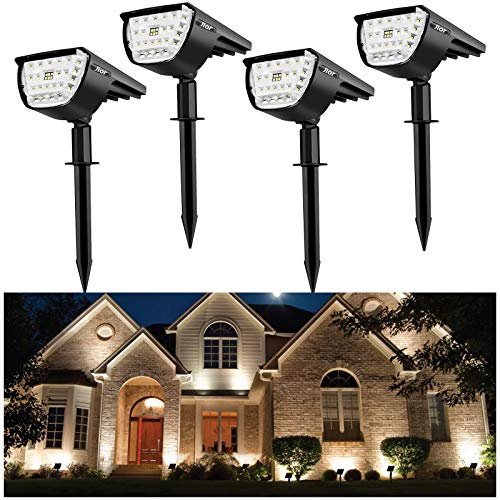 Jior Solar Landscape Spot Lights Outdoor 32 LED IP65 Waterproof Wireless Lights for Garden Yard Driveway Walkway Pool Patio 4 Pack (Cold White)