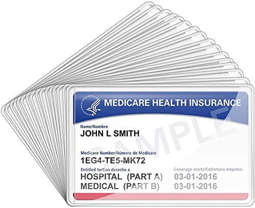 LotFancy 16 piezas Portatarjetas de 12 mil Fundas de tarjeta de PVC transparente Protector de tarjeta médica Portatarjetas Catellini Tarjetas de crédito Impermeable y transparente Fácil de ver