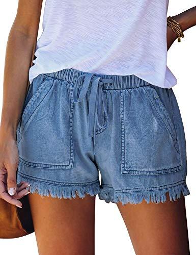 QACOHU Womens Summer Casual Fashion Drawstring Elastic Waist Denim Shorts Jeans 2021 S-XXL MBlue M Womans Shorts Summer Fashion for Women 2021 Stretch Denim Shorts Women