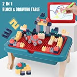 BETTINA 2 in 1 Block Activity Table & Magnetic Drawing Boards with 102 Pcs Blocks, Building Toys & Doodle Board for Kids (Blue)