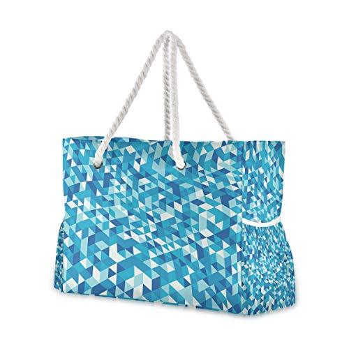 Montoj - Bolsa de playa, diseño de mosaico, color azul
