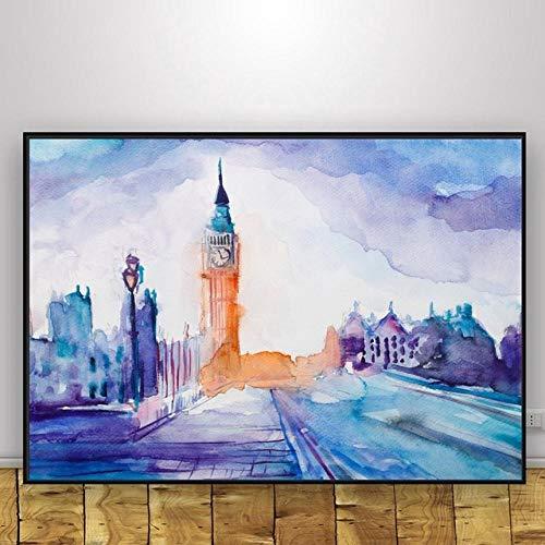 wZUN Paisaje de la Ciudad decoración del hogar Lienzo Estilo nórdico Pintura impresión Cartel Pared Arte Dormitorio Imagen 60x80cm Sin Marco