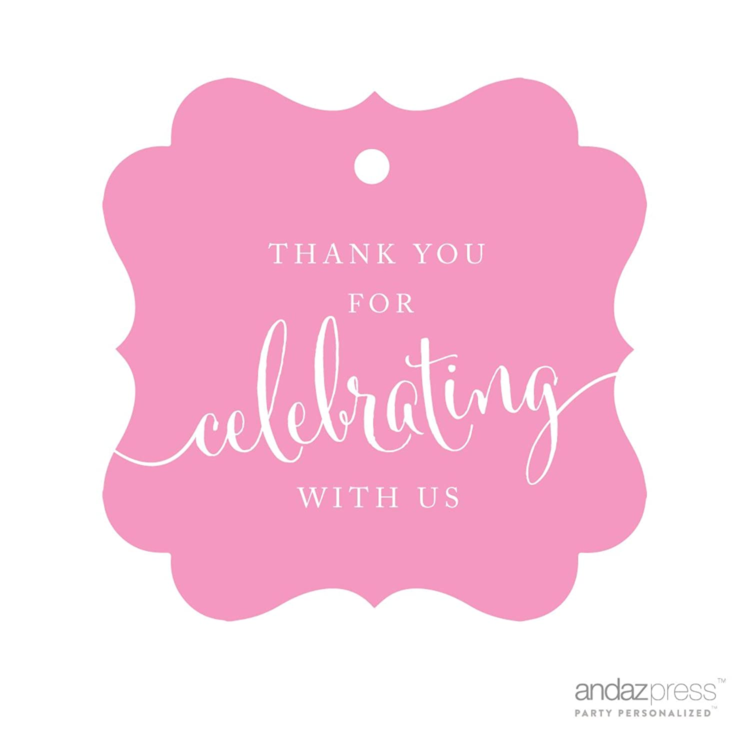 Andaz Press Fancy Frame Gift Tags, Thank You For Celebrating With Us, Pink, 24-Pack, For Baby Bridal Wedding Shower, Kids 1st Sweet 16 Quinceanera Birthdays, Anniversary, Graduation, Baptism, Christening, Confirmation, Communion Party Favors, Gifts, Boxes, Bags, Treats and Presents