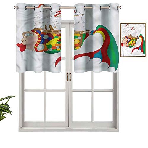 Hiiiman Cenefa de cortina para ventana de privacidad interior, diseño de dibujos animados de un pez de color, juego de 2, 42 x 24 pulgadas para puerta corredera de patio o comedor