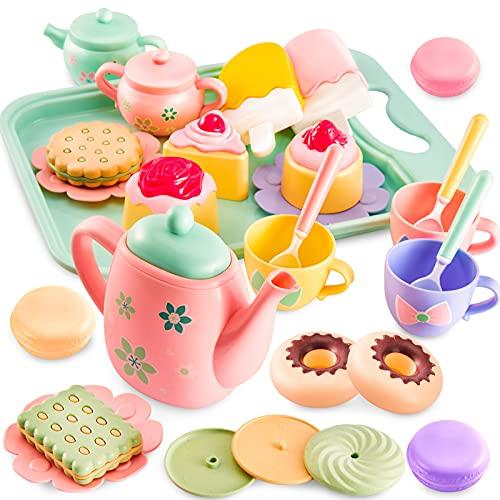 LINFUN KIDS Servizio da Te Giocattolo Cibo Gelato Smontabili Accessori Cucina Set da tè con Vassoio, Regalo per Bambini 3+ Anni