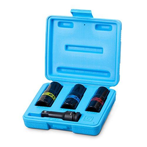 Capri Tools Impact Flip Socket Set, Lug Nut Service, Includes 17, 19, 21mm Metric Sizes and 3/4,13/16, 7/8 SAE Sizes (CP58102)