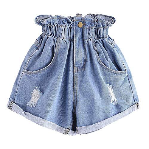 Zarupeng denim-shorts voor dames, met hoge taille, scheuren, jeans, hotpants, zomer, los, wijd been, korte broek, elastische vrijetijdsshorts