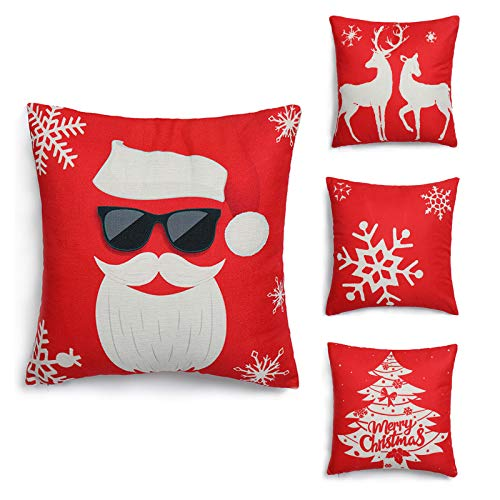 HIGHFIT Christmas Throw Pillow Covers 18x18 Set of 4, Xmas Pillowcase Decorative Square Soft Holiday Cushion Case Cotton Linen for Sofa Couch Bedroom Car Home Decor(C)