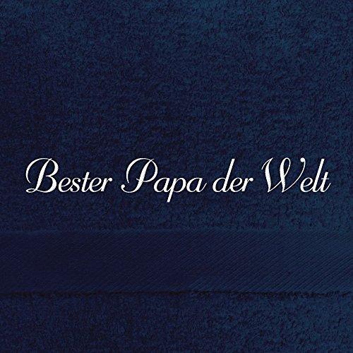 digital print Saunahandtuch mit Namen Bester Papa der Welt Bestickt, 100x180 cm, dunkelblau, extra Flauschige 550 g/qm Baumwolle (100%), Badetuch mit Namen besticken, Saunatuch mit Bestickung