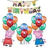 Decoraciones de Cumpleaños Peppa Pig Globos Feliz Cumpleaños del Pancarta George Pig Globo de Papel de Aluminio para Niños George Peppa Pig Decoraciones de Fiesta Cumpleaños