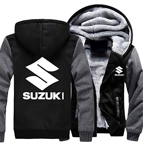 Herren Sweatshirts Suzuki Hoodies Pullover Langarm Fleece Jacken Full Zip Hooed Mäntel - Herbst Winter Warm Thick Sweater Outwear Tops,Schwarz+Grau,L