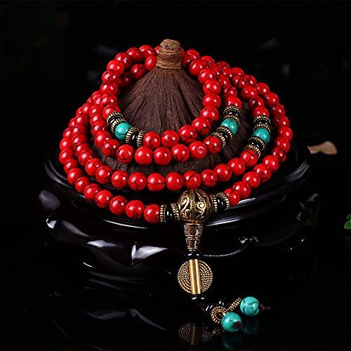 PPuujia Pulsera al por mayor budista oración pulsera 8MM rojo turquesa oración cuentas mujer yoga meditación collar